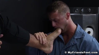 Inked Prison Guard Rikky Ork has his Feet Licked by Prisoner