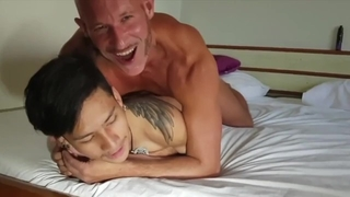 Asian Twink Barebacked by a White Daddy