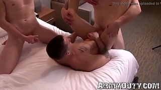 Threeway in the military and group masturbation session