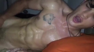 Sweaty Latin Teen Jock with Wolf Tattoo Fucking and Jizzing Cum