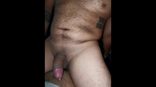 Hairy Guy Cums Loudly Riding a Dick