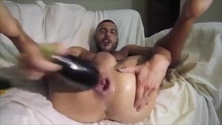 Gay Sex : A Lonely gay with his Cucumber&Eggplant dildo.