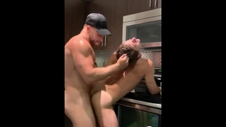 Hot Daddy Rough Fucks his Boy in the Kitchen