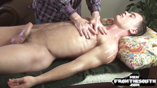 Straight stud gets his cock teased at massage