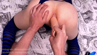 DOUBLE PENETRATION. COCK + DILDO IN FEMBOY YOUNG TIGHT ASS