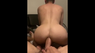 Riding his Dick he Pulls out & Squirts Cum