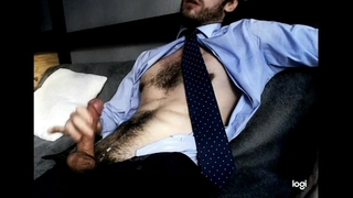 Straight Daddy Jerks off after Work, Moans and Jerks on his Muscular Chest