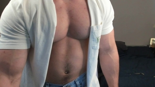 Hotmuscles6t9 Ripping off Shirt and Flexing