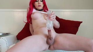 Redhead Kylie Maria Strokes her Girl Cock For Your Pleasure