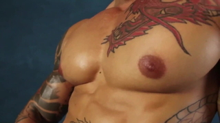 Hot muscle guy solo big pecs tattoo