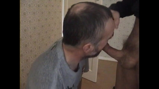 Gagging on cock and cum