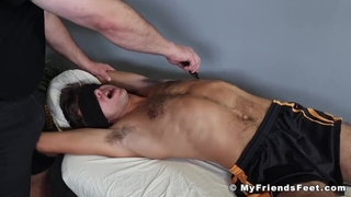 Hairy Sweaty Feet Soccer Player Blindfolded and Tickled Hard