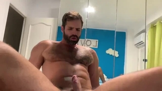 Bearded Muscle Hunk Riding Thick Cock (too Short)