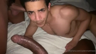 3way- Biracial Twink came back for more Black Cocks