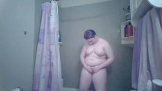 Young Chubby Ftm Trans Man Gets Horny in the Shower and Jerks off