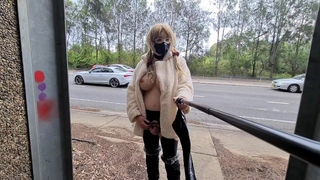 Exhibitionist Whore Flashing in a Fur Coat by a Busy Road