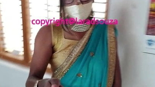 Indian sexy crossdresser Lara D'Souza in saree