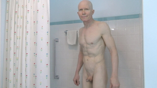 Horny Gay Nudist Shaves in Shower