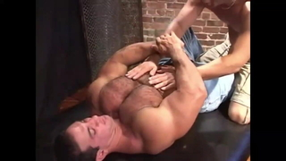 Classic muscle worship and pec work out nipple play