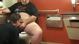 fat daddy gets sucked off in the toilet