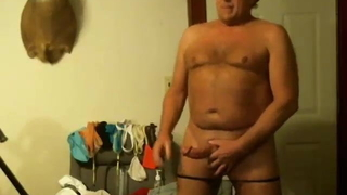 Sexy worker strokes his big meat and cums
