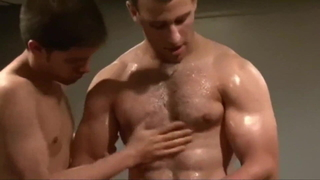 Naked body fighting with pec massage!