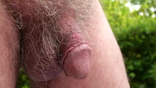 72 year old grandpa strokes his cut cock outdoors