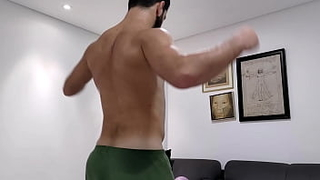 SWEATY hairy hunk wants to be your workout buddy - straight muscle stud