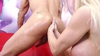 Lara De Santis - DP DAP with real cock and dildo, pegging fisting DAP on her boyfriend's ass and cum in mouth LDS033