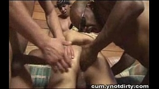 Tranny gangbanged got heavy load on her face