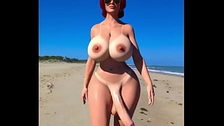 shemale redhead decides to get a tan from the sun walking along the empty beach with no one with her big dick swinging part 2