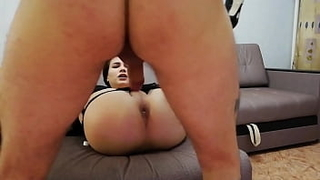 Russian trans prostitute Anna serves a client at home