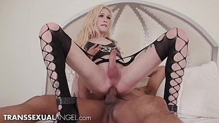 TranssexualAngel - TS Babe Strokes Her Huge Cock While Riding