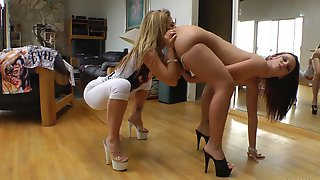 Blazing lesbian babes with nice asses in high heels getting superb ass lick in POV