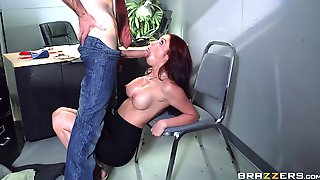 Office nerd with a giant cock fucks the smoking hot redhead