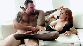 Redhead in fishnet stockings likes deepthroating and hardcore fisting