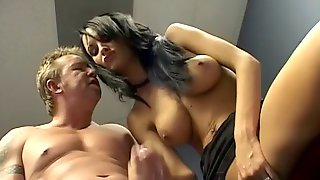 Dirty brunette with big gorgeous tits getting her pierced pussy licked