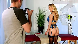 Desirable blonde in blue lingerie is getting shagged hard and good