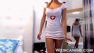HOT Naughty Nurse Riding Dildo on Webcam88