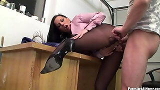 Long haired office secretary cave in to hardcore office sex in a reality shoot