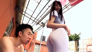 Asian cutie with the great buttocks is quite ready for the doggy sex