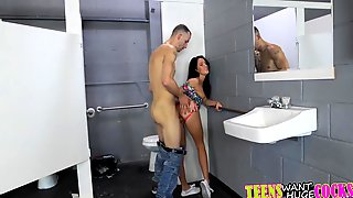 Megan Rain getting her tight pussy drilled in the restroom