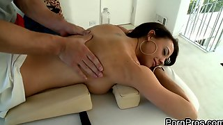 Romantic tattooed brunette with long hair loving her hot ass being given superb massage