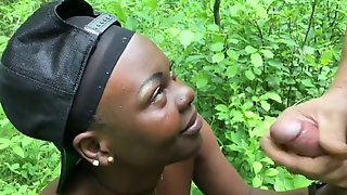 Humiliating black girl in the woods