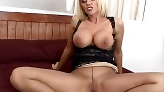 Blonde milf ripping off her nearly black tights / pantyhose / nylons