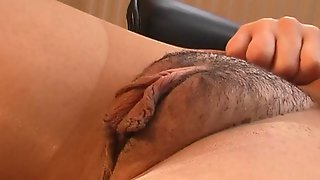 Brunette wife plays with her hairy twat over ripped pantyhose