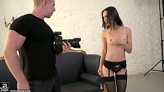 Sex-appeal and beautiful babe in sexy lingerie Lilu Moon gets her anus fucked
