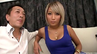 Hot blonde Asian Aika is the perfect lay with those boobs and lips