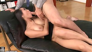 Long haired asian office girl gets fucked silly by her boss