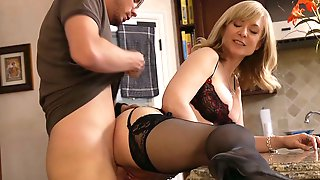 Nina catches her sons friend... to have sex